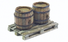 Set of 2 Wooden Barrels + Wooden Pallet